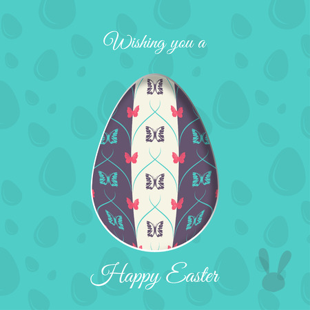 concave: Vector poster of Easter egg with butterflies pattern, rabbit silhouette, shadow and text on the turquoise background with pattern.