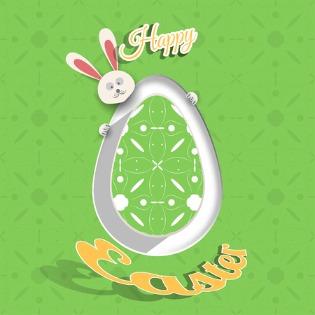 Greeting poster for Happy Easter holiday with green egg cut from paper, peeping rabbit, shadow, geometric pattern and text on the green background with pattern. Illustration