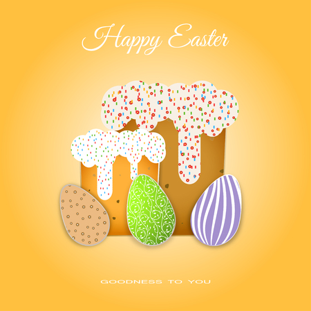 Vector poster of Easter Cakes with glaze and eggs with different patterns on the gradient yellow background with text. Illustration