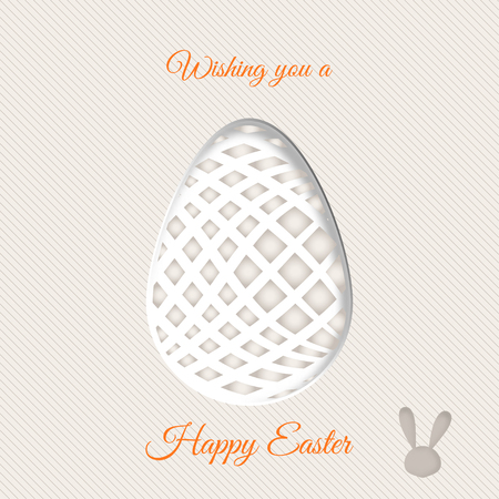 Vector poster of Easter egg with geometric gray pattern and shadow, rabbit silhouette on the line background and yellow text.