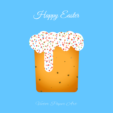 Vector poster of Easter Cake with glaze on the blue background with text