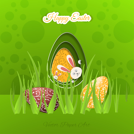 Vector poster of Happy Easter on the gradient green background with rabbit hole, eggs, green floral pattern, grass and outline text cut from paper.
