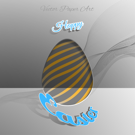 concave: Vector composition of Easter eggs silhouette cut from paper with gray wave, blue outline text placed on the gradient gray background.