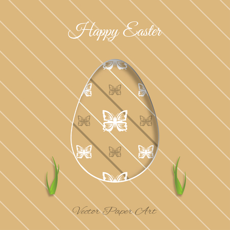 brown egg: Vector poster of Easter egg with brown butterflies pattern, grass cut from paper, shadow and text on the light brown background with line pattern. Illustration