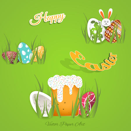 Vector paper art carve of Happy Easter with eggs different patterns cut from paper, Easter Cake, bunny, green grass, yellow outline text placed on the gradient green background.