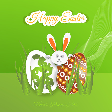 Vector poster of Happy Easter on the gradient green background with rabbit peeping out for eggs, waves, grass and outline text cut from paper.