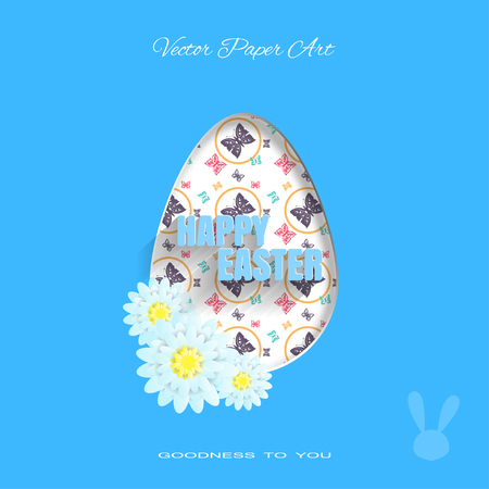 Vector poster of Happy Easter on the blue background with label, rabbit silhouette, egg with pattern from butterflies, flowers and text cut from paper. Illustration