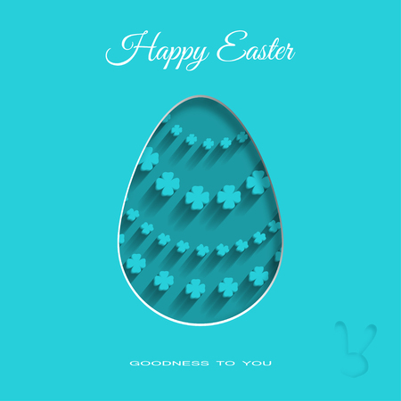concave: Vector paper art of dark turquoise Easter egg with floral pattern, shadow and text on the turquoise background. Illustration