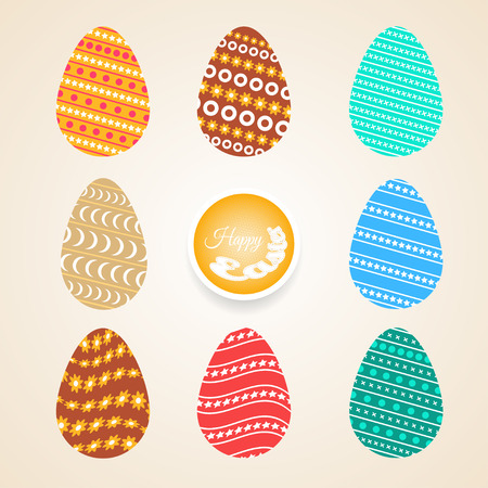 Vector set of Easter eggs different colors and patterns on the light gradient background. Illustration