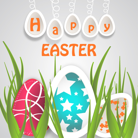 Vector paper art of Easter eggs with different pattern, eggs hanging on a rope, yellow text and grass on the gradient light gray background. Illustration
