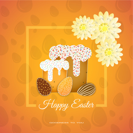 goodness: Vector poster of Happy Easter with yellow frame, flowers, Easter Cake, eggs with different patterns on the yellow background with pattern.