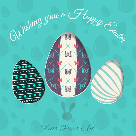 concave: Vector poster of Easter eggs with different patterns, rabbit stamp, shadow and text on the turquoise background with pattern. Illustration