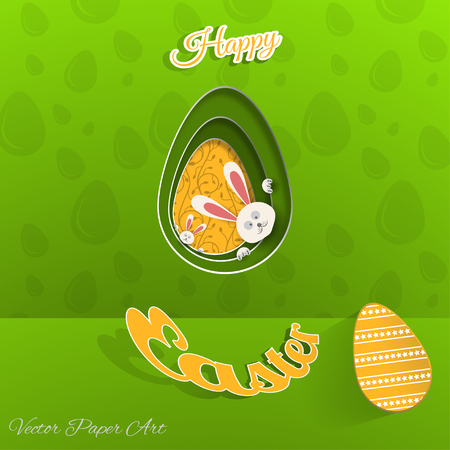 Vector poster of Happy Easter on the gradient green background with rabbit hole, yellow egg with pattern, egg pattern and yellow outline text cut from paper.