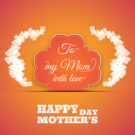 clover background: Happy Mothers Day vector poster on the gradient yellow background with text, shape insert in the paper pocket, glow clover leaves.