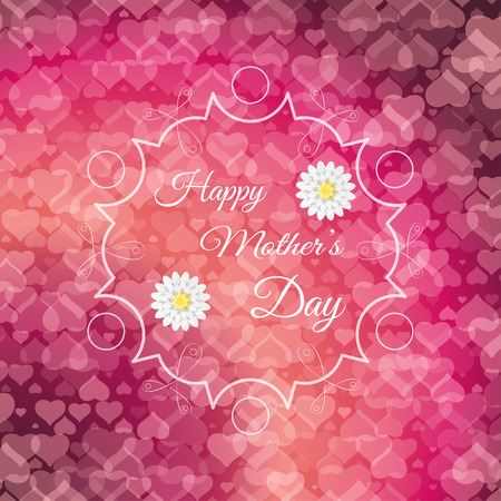 Happy Mothers Day vector poster on the gradient red background with heart pattern, abstract shape in the center, text and flowers. Illustration