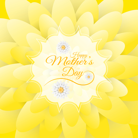 Happy Mothers Day vector poster on the floral background with white label in the center and text.