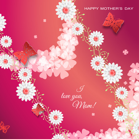 happy woman: Happy Mothers Day vector poster on the gradient red background with curly branches of flowers, butterflies, text, leaf silhouettes, flowers. Illustration