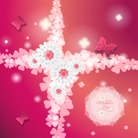 happy woman: Happy Mothers Day vector poster on the gradient red background with floral shape, butterflies, text, glow leaf silhouettes, flowers and clover leaves. Illustration