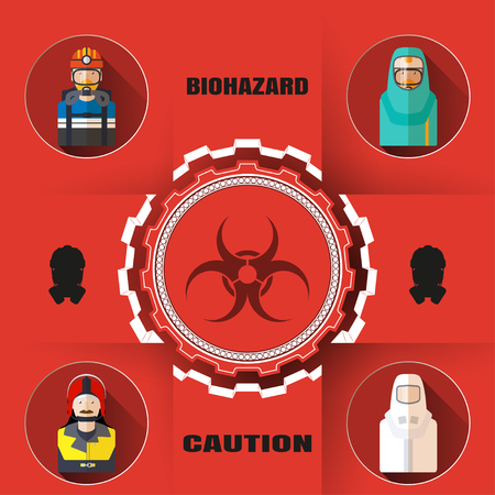 hazardous waste: Vector poster of biohazard warning and rescue with paper label, mask silhouettes, avatars of different rescue professions and text on the red background and shadow.