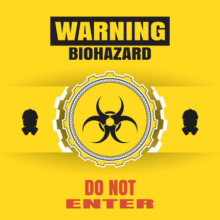 Vector poster of biohazard warning with paper label, mask silhouettes and text on the yellow background and shadow. Illustration