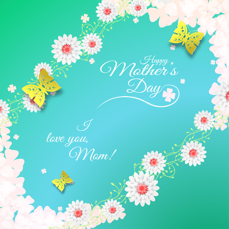Vector poster of Happy Mothers Day on the gradient green and blue background with curly branches of flowers, butterflies, text, leaf silhouettes, flowers. Illustration