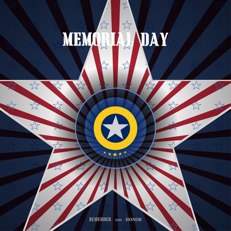 Memorial Day with label cut from paper, cutout in the shape of a star and shadow on the gradient blue background with red rays and blue stars.