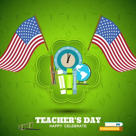 Teachers Day vector poster with green label, shadow, american flags on the gradient green background with pattern.