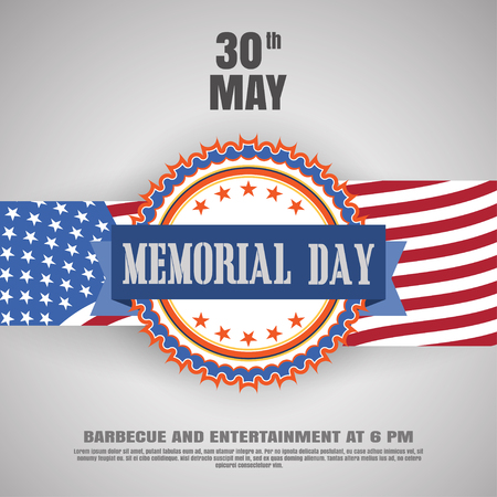 Vector poster of Memorial Day with label, stripe, shadow and text on the gradient gray background with usa flag.