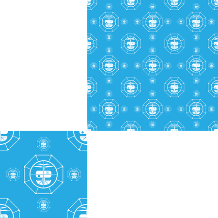 observation: Seamless isolated pattern of quadrocopters on the light blue background.