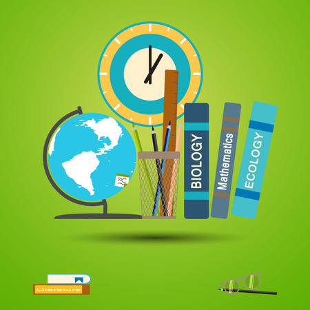 Illustration of poster to the World teachers day on the gradient green background.