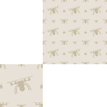 radio unit: Seamless pattern of brown quadrocopters on the light brown background with pattern unit.
