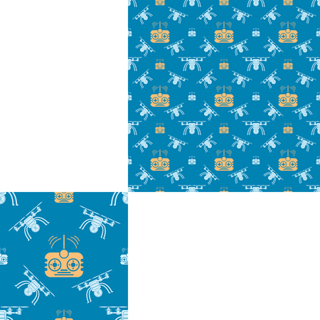 radio unit: Seamless pattern of white quadrocopters and yellow remote control on the blue background with pattern unit.