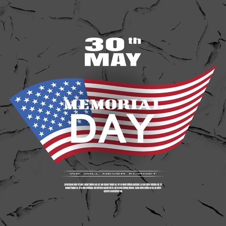 Vector greeting card to Memorial Day with white text and shadow on the dark brown background with american flag and pattern of cracked paint.