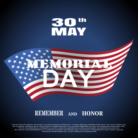 Vector greeting card to Memorial Day with white text and shadow on the dark blue background with american flag.