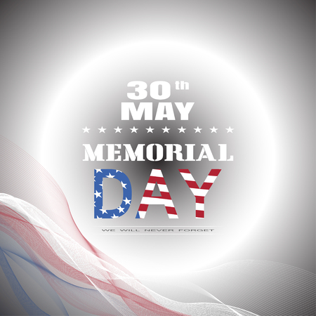 Vector greeting card for Memorial Day with waves, color text, glow, shadow on the gradient gray background. Illustration