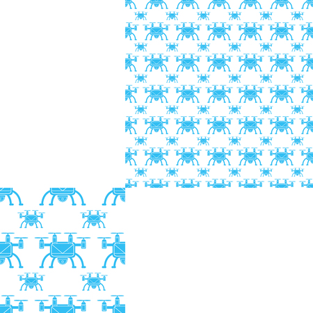radio unit: Seamless pattern of blue unmanned aircraft on the white background with pattern unit.