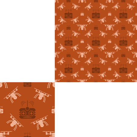 radio unit: Seamless pattern of drones and remote controls on the orange background with pattern unit.