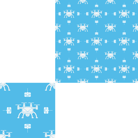 Seamless pattern of white drones and remote control on the blue background with pattern unit.