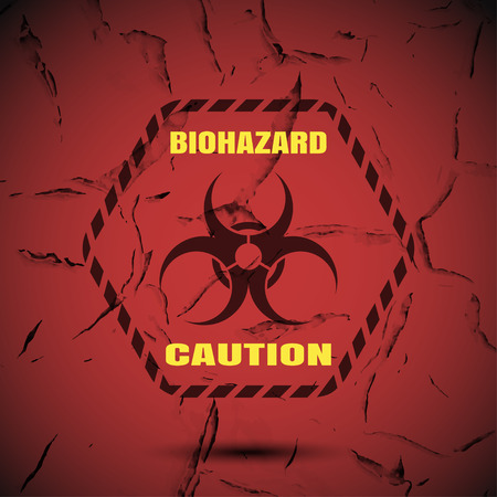 hazard stripes: Biohazard - vector poster with label, yellow text and shadow on the gradient red background with pattern of cracked paint. Illustration