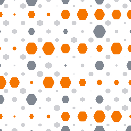 Abstract geometric white background with orange and gray hexagons of different size. Illustration