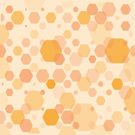 Abstract orange geometric background with hexagons of different opacity and size. Illustration