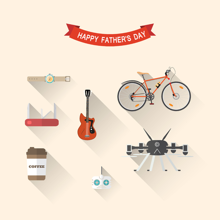 Vector set of flat icons of drone ans remote control, red knife and guitar, wristwatch, coffee cup, bicycle for Fathers Day holiday.