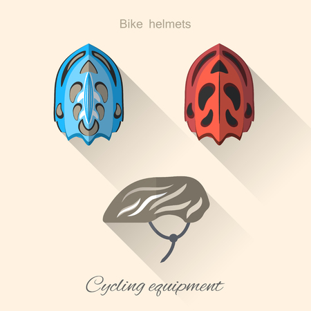 straps: Vector isolated hexagon flat icons set of bicycle helmets with long shadow on the light background.