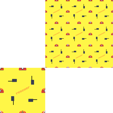 radio unit: Seamless pattern of Rescue and fire on the yellow background with pattern unit.