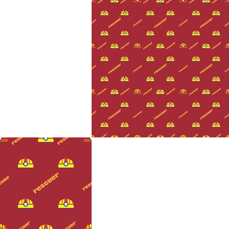 radio unit: Seamless pattern of Rescue and fire with plastic helmets and words on the dark red background with pattern unit.