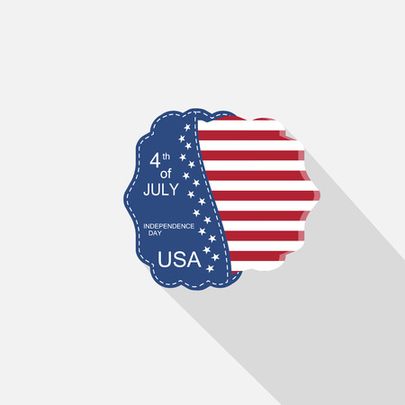 fringe: Flat web element for Independence Day with blue pocket, round insert with American flag and long shadow. Illustration