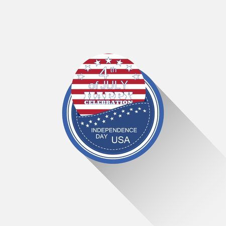 fringe: Vector round blue web element for Independence Day with pocket, insert with red stripes, stars, text and long shadow on the light gray background.