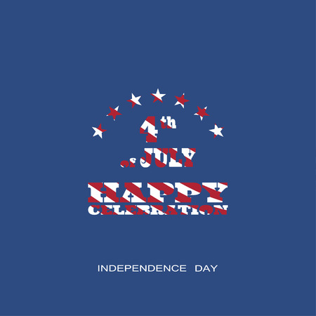 recordar: Vector poster of Independence Day with text with a pattern from the American flag on the dark blue background.