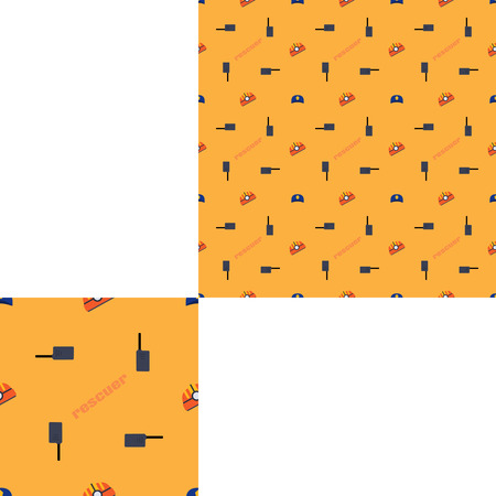Seamless pattern of Rescue and fire with helmets, radio and orange text on the dark yellow background with pattern unit.