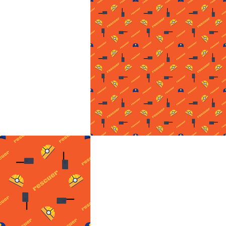 radio unit: Seamless pattern of Rescue and fire with plastic helmets, radio and yellow text on the orange background with pattern unit.